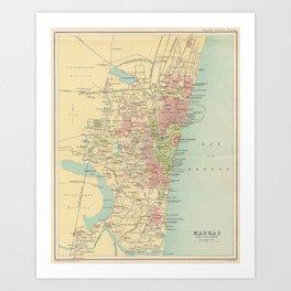 Vintage Map of Madras India (1909) Art Print