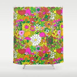60's Groovy Garden in Lime Green Shower Curtain