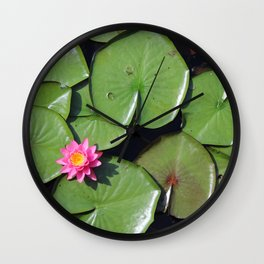 Pink Flower in the Pond Wall Clock