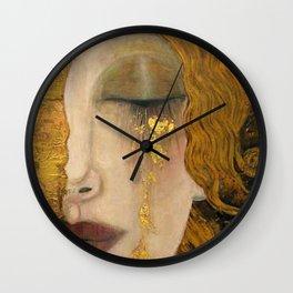Golden Tears (Freya's Heartache) portrait painting by Gustav Klimt Wall Clock
