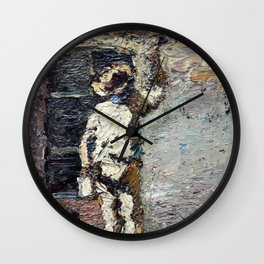 Adolphe Monticelli - A Painter at Work on a House  Wall Wall Clock