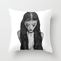 inner demons Throw Pillows featuring Demons by Natalie Huber