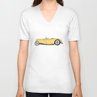 great gatsby V-neck T-shirts featuring Great Gatsby Yellow Roadster by JasonKoons