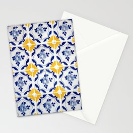 Blue and yellow tile Stationery Cards
