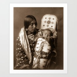 Apsaroke Mother and Child - Curtis - 1908 Art Print