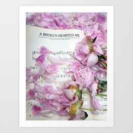 Shabby Chic Cottage Peonies On Sheet Music - Inspirational Peonies Print Art Print
