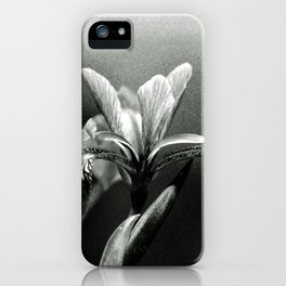 Beautiful Blue Flag Iris in black and white iPhone Case