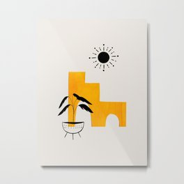 Mid Century Modern Minimalist Ancient Ruins Mango Yellow Paper Collage Potted Plant Legs by Ejaaz Haniff Metal Print