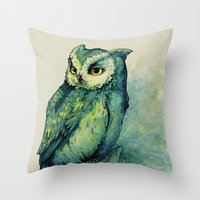 decal Throw Pillows featuring Green Owl by Teagan White