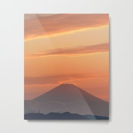 Mount Fuji at Sunset with clouds - Japanese Sunset Metal Print