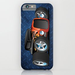 30's Street Rod with Classic Hot Rod Flames Cartoon iPhone Case