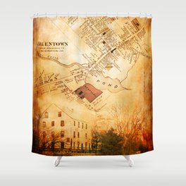 Allentown, New Jersey Map and Mill by Ericka O'Rourke Shower Curtain