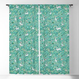 Spring Pattern of Bunnies with Turtles Blackout Curtain