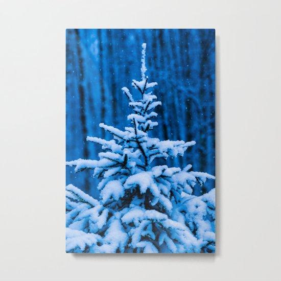 Snow covered Christmas tree Metal Print