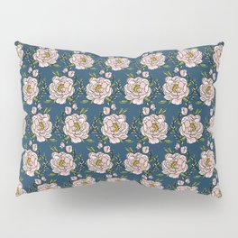 Peony Love on Navy Pillow Sham