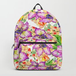 Hand painted modern pink lilac watercolor hibiscus floral pattern Backpack