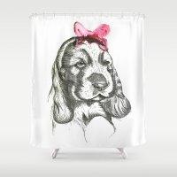 puppy Shower Curtains featuring Puppy by Lieke Mulder