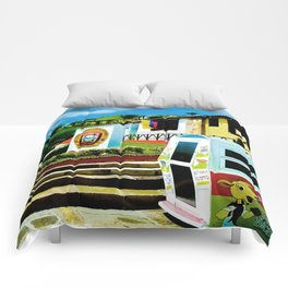 Bright blue sky, bright colors. Comforters