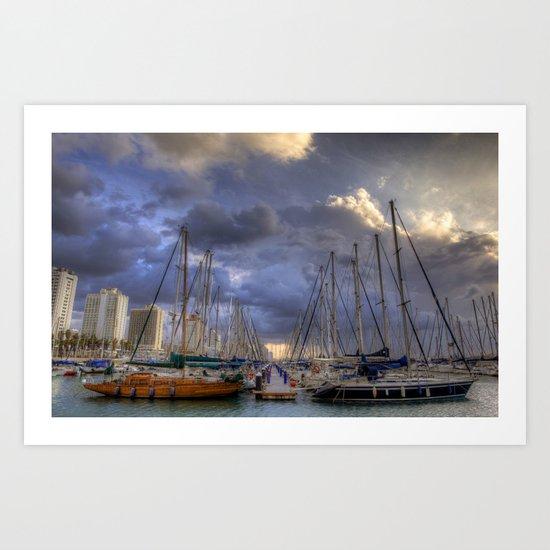 Tel-Aviv Yacht harbor & boats at winter, Israel Art Print