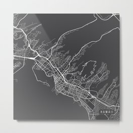 Honolulu Map, USA - Gray Metal Print