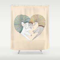 ferret Shower Curtains featuring Love Sleep by Ruta13