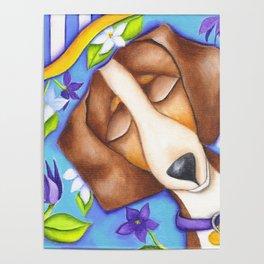 Happy Dreams Dachshund Dog Original Art Poster
