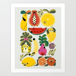 Puppical Fruits Art Print