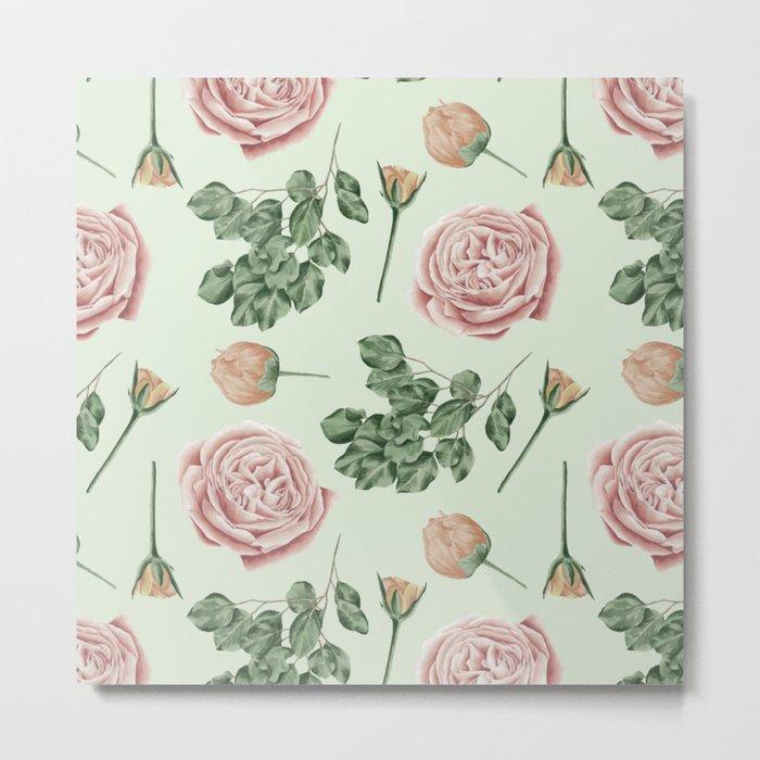 Rose Garden Delight Mint Green + Pink Metal Print