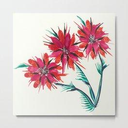 3 Red Flowers Metal Print