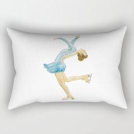 Girl in blue dress. Figure skater. Rectangular Pillow