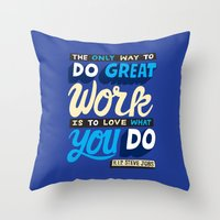 steve jobs Throw Pillows featuring RIP Steve Jobs by Chris Piascik