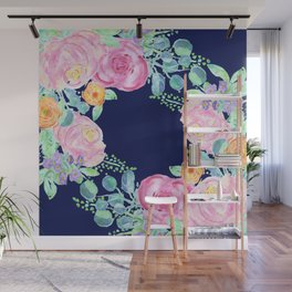 light pink peonies roses with navy background Wall Mural
