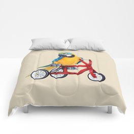 Parrot macaw on red bike Comforters