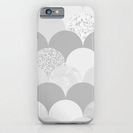 Blush Chic Glacier Gray Silver Glitter Elegant Scallop iPhone Case