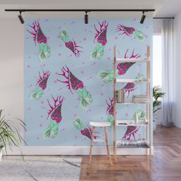 watercolor blue pattern with pink alien ice cream Wall Mural