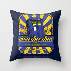 Blue box beer (tardis) Throw Pillow