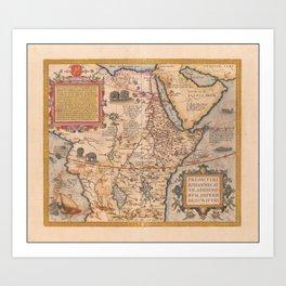 Vintage Map Print - Ortelius - 1574 Map of Central Africa including Prester John Art Print