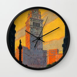 Union Terminal Cleveland Travel Poster Wall Clock