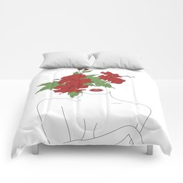 Minimal Line Art Woman with Hibiscus Comforters