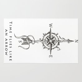 Time flies like an arrow (tattoo style) Rug