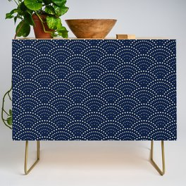 Japanese Blue Wave Seigaiha Indigo Super Moon Pattern Credenza