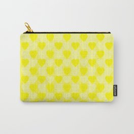 Zigzag of yellow hearts staggered on a light background. Carry-All Pouch