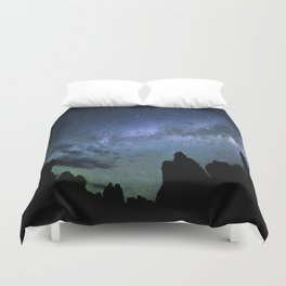 Milky Way Mountains Silhouette Duvet Cover