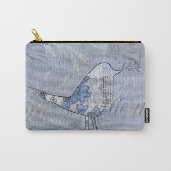 Cute patchwork bird collage with text Carry-All Pouch