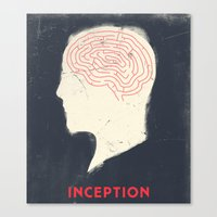 movie poster Canvas Prints featuring Inception - Movie Poster by Joel Amat Güell