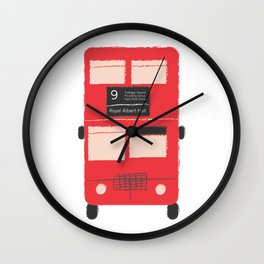 Red Double Decker Bus  Wall Clock
