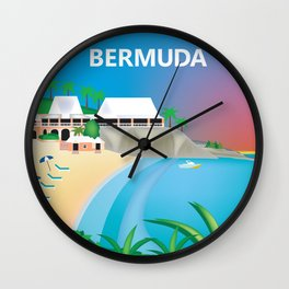 Bermuda - Skyline Illustration by Loose Petals Wall Clock
