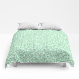 Most Detailed Mandala! Mint Green Color Intricate Detail Ethnic Mandalas Zentangle Maze Pattern Comforters