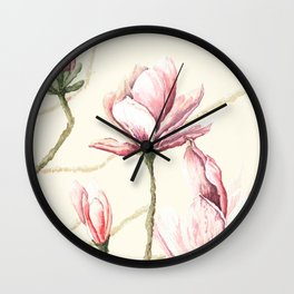 Waercolor Mgnolia Wall Clock