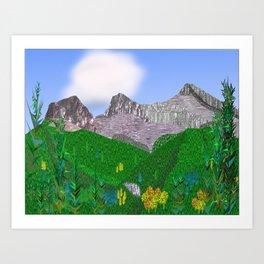 Three Sisters Mountain Canmore Alberta Art Print